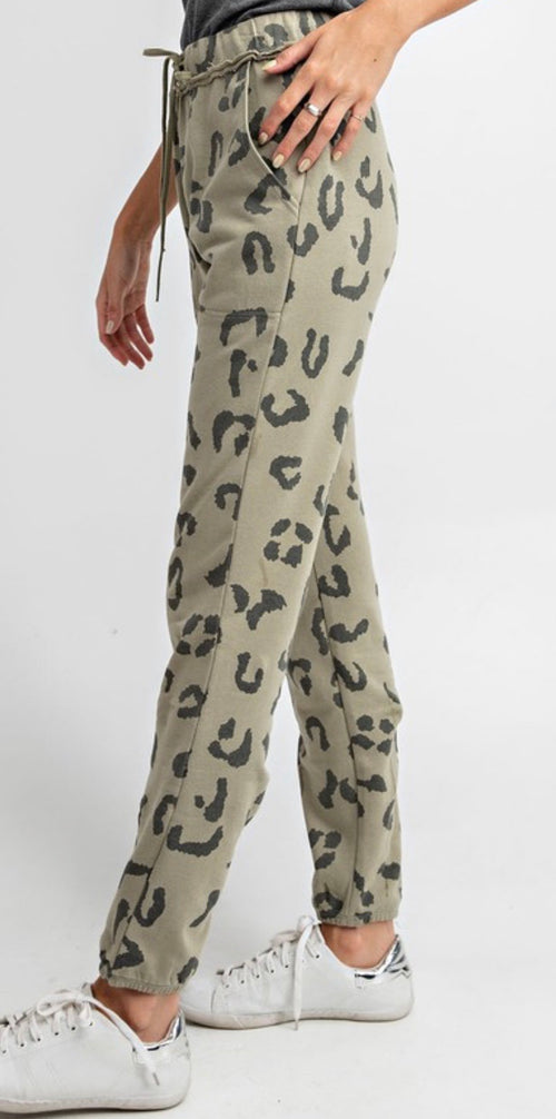 Leopard Printed Terry Knit Washed Joggers | Cheeky Cactus