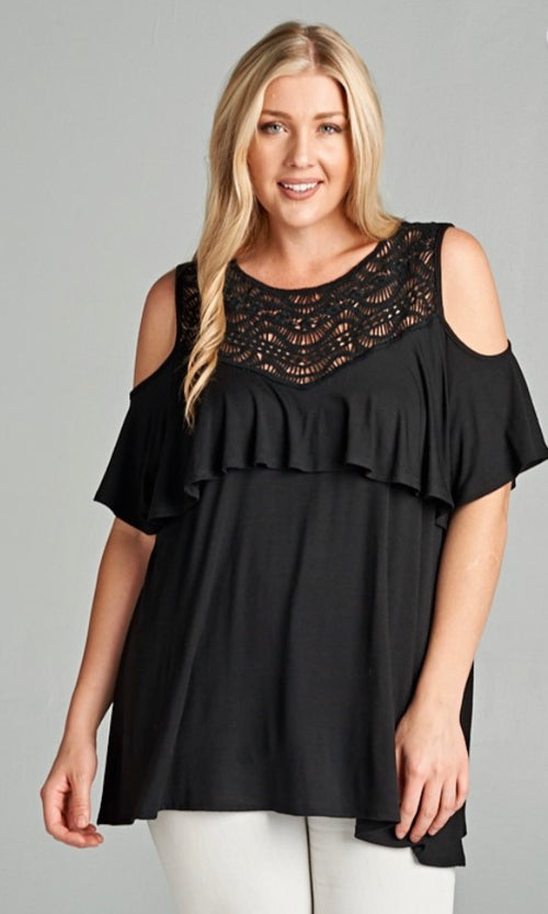 Black Top with a crochet neckline,ruffle trim, and keyhole back | Cheeky Cactus