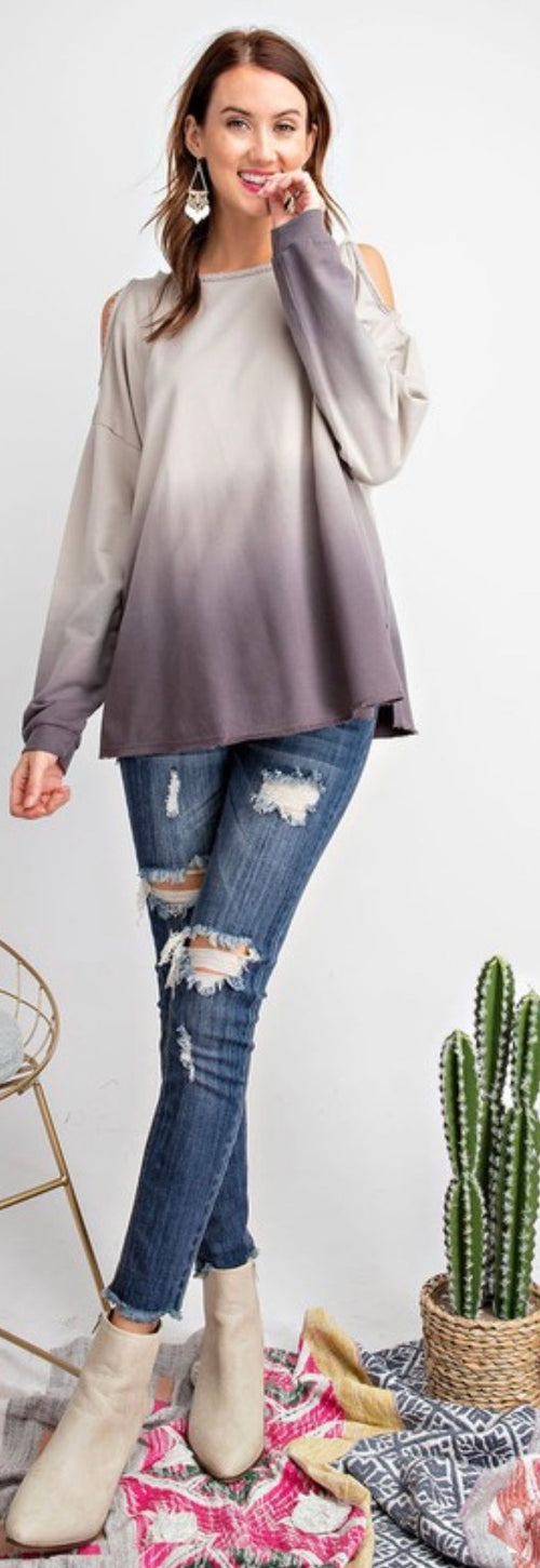 Cold Shoulder Ombré Long Sleeve Top - Cheeky Cactus