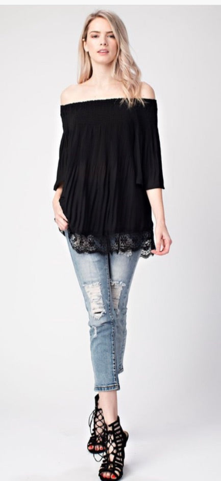 Black Pleated Lace Top | Cheeky Cactus