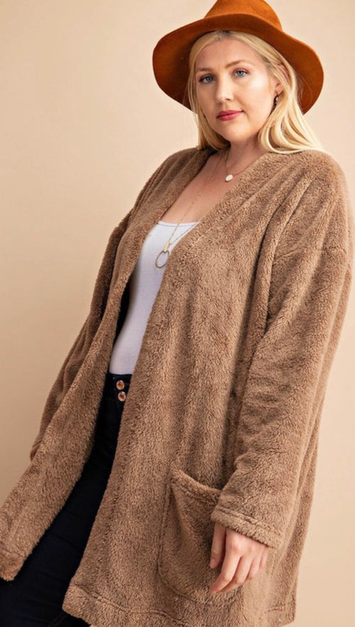 Fluffy faux fur coat with pocket