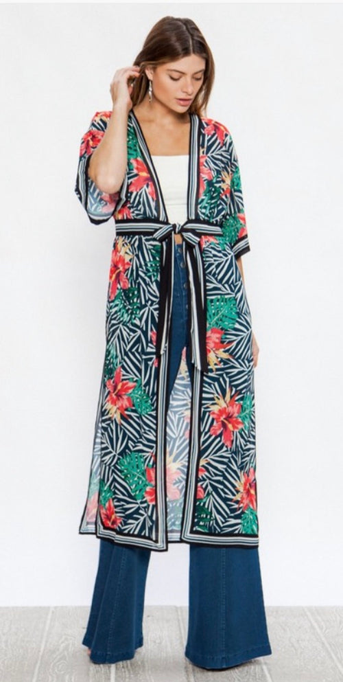 Tropical Floral Sheer black & navy striped Kimono | Cheeky Cactus