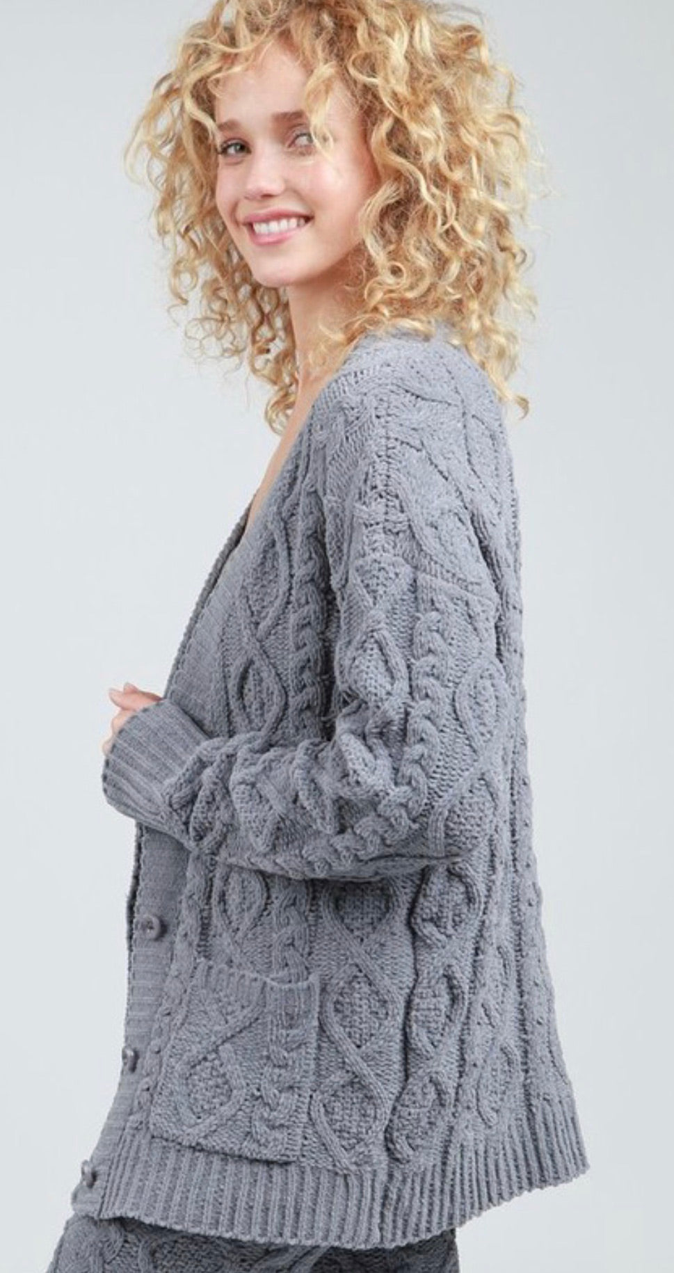 Berber Fleece Sweater Cardigan with Front Button Closure and Pockets | Cheeky Cactus