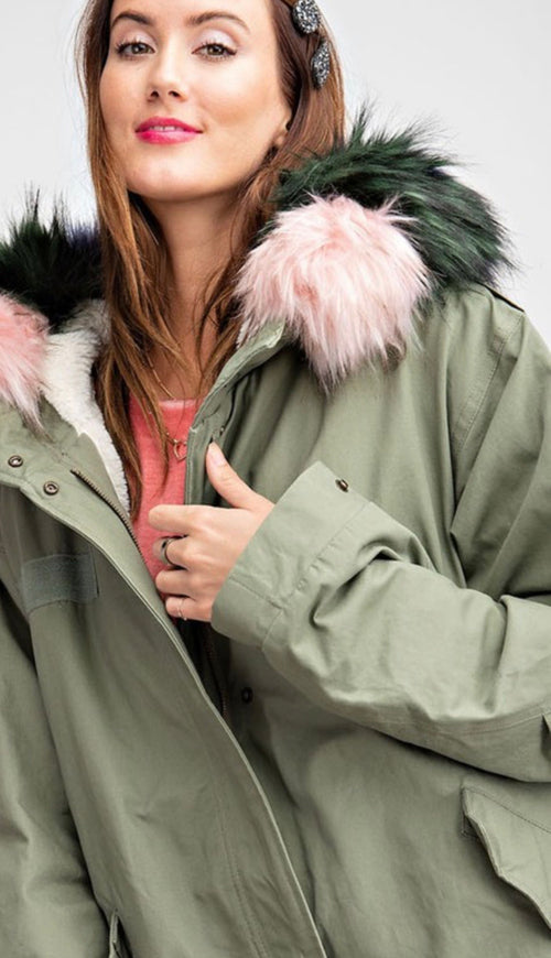 Military Loose-Fit Bomber Coat with Removable Fur Collar - Cheeky Cactus