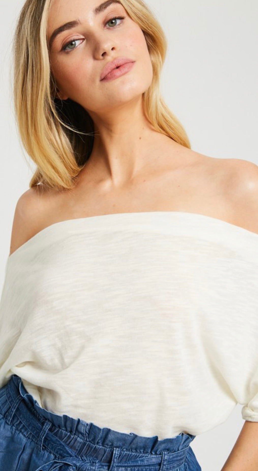 Ivory Off-the-Shoulder Unfinished Trim Knit Top | Cheeky Cactus