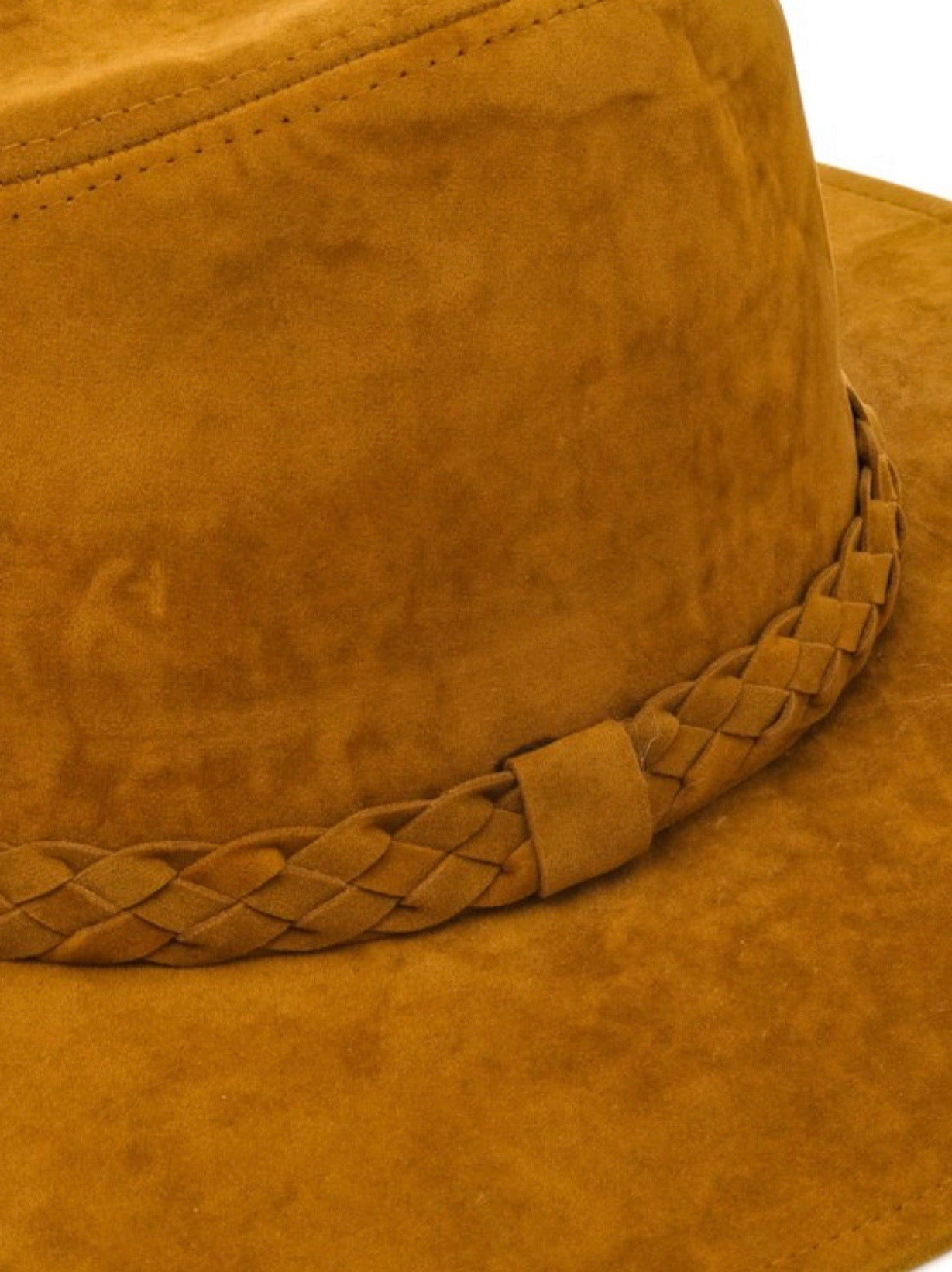 Camel faux suede boho hat orb braided band | Cheeky Cactus