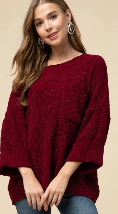 Burgundy Cuffed Chunky Sweater With Pocket - Cheeky Cactus