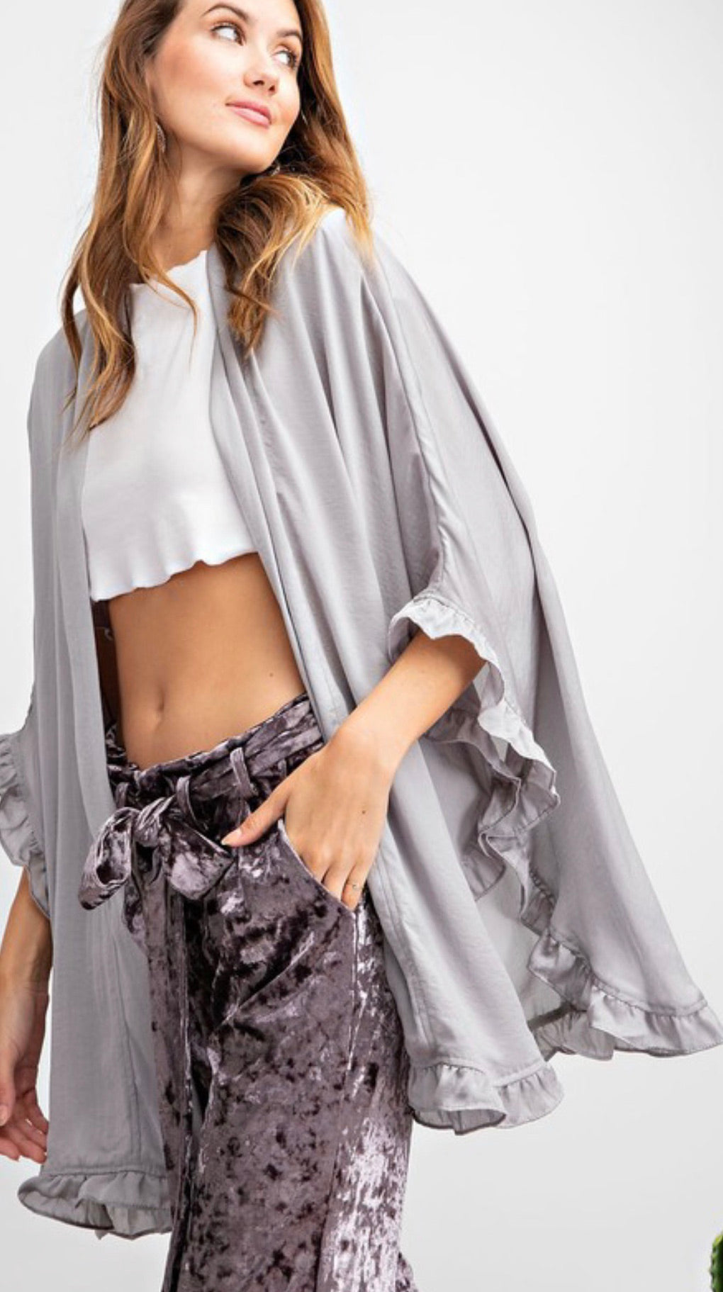 Ruffled Edge Oversized Open Kimono | Cheeky Cactus