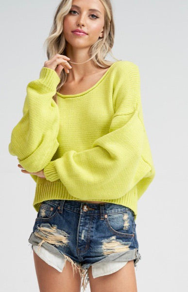 Neon Lime Highlighter Cropped V-Neck Sweater | Cheeky Cactus