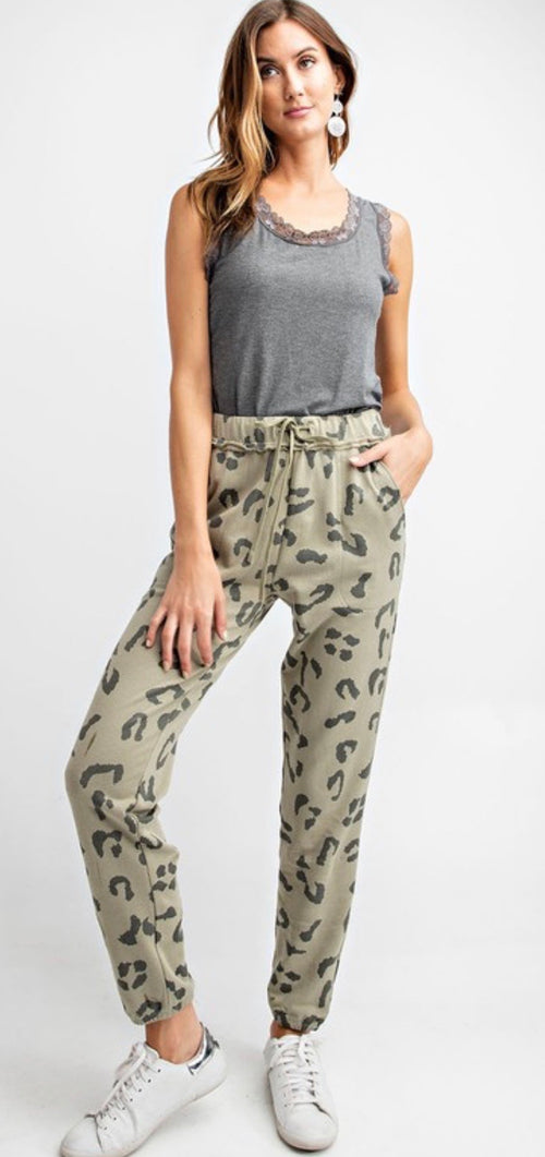 Leopard Printed Terry Knit Washed Joggers - Cheeky Cactus