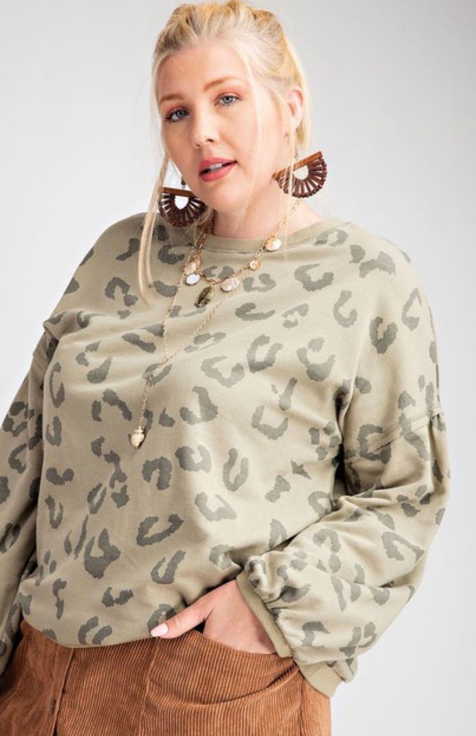 Sage grey leopard print terry top with bubble sleeve | Cheeky Cactus