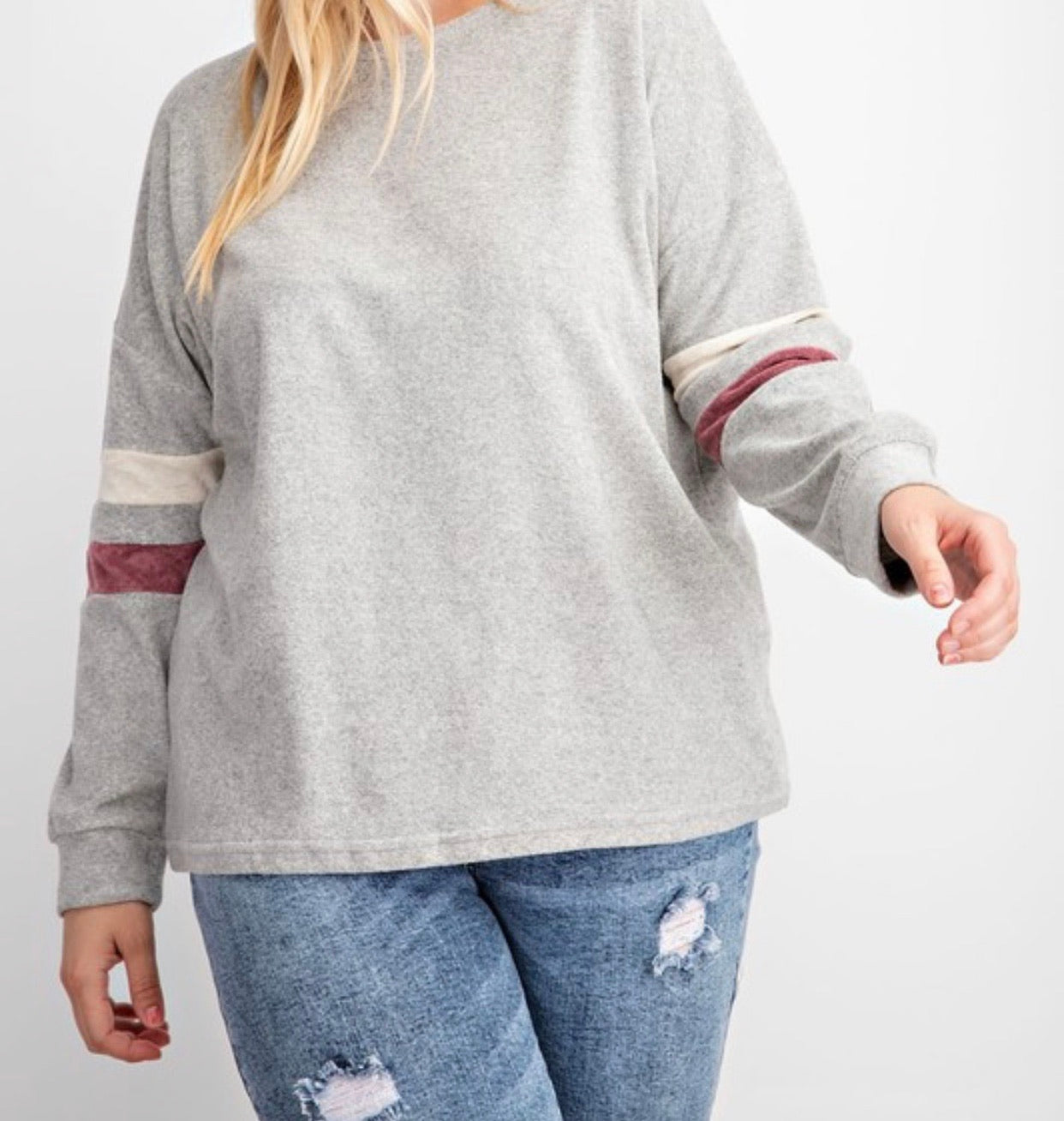 Grey color block terry top - Cheeky Cactus