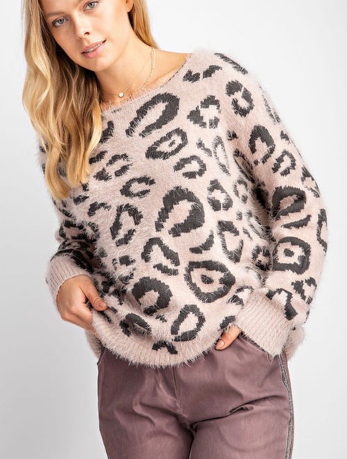 Leopard Knitted Sweater with Twist Feature Back - Cheeky Cactus