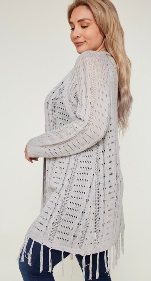 Heather Grey Fringe Cardigan | Cheeky Cactus