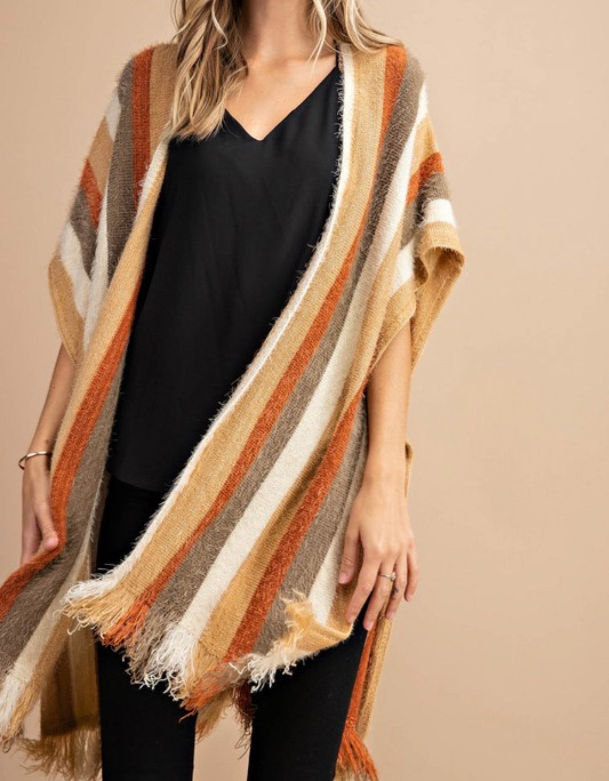 Stripe Sweater Poncho | Cheeky Cactus