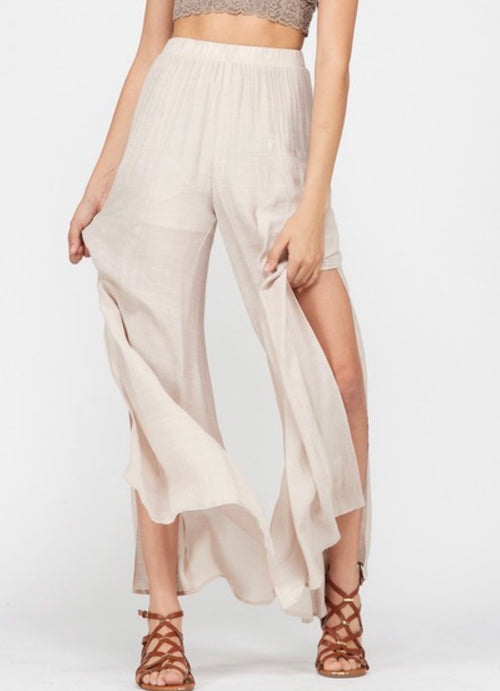 Champagne Side Slit Pants - Cheeky Cactus