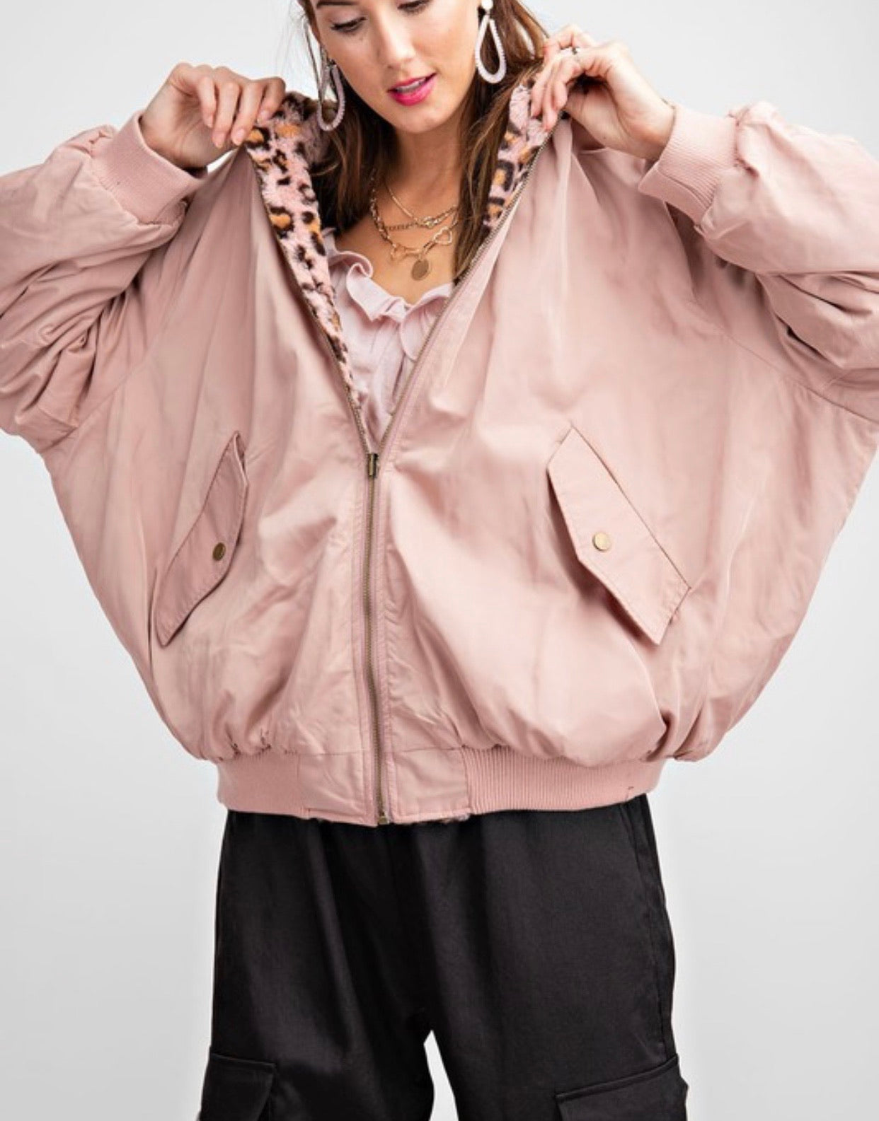 Reversible rose leopard bomber jacket