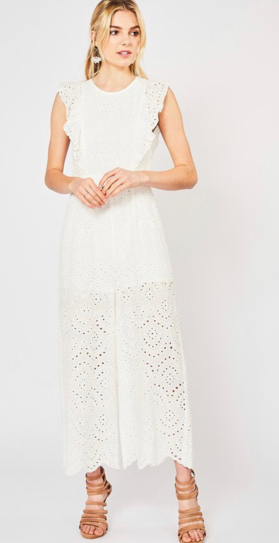 White Crocheted Jumpsuit | Cheeky Cactus
