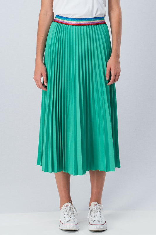 Green Pleated Skirt with Multi Color Waist Band | Cheeky Cactus