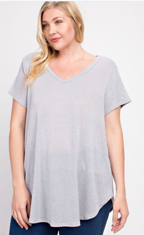Gray crepe knit v-neck | Cheeky Cactus