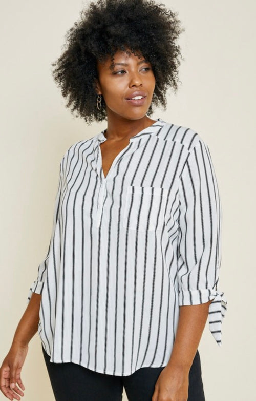 Striped Tie Sleeve, high low top | Cheeky Cactus
