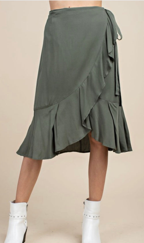 Olive Ruffled side flare ,tie- skirt