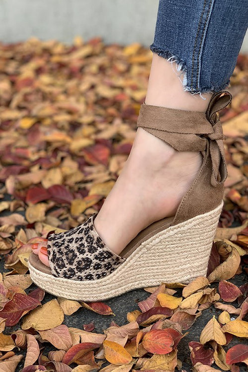 Peep Toe Espadrille Wedge Heel with Suede Lace Up - Cheeky Cactus