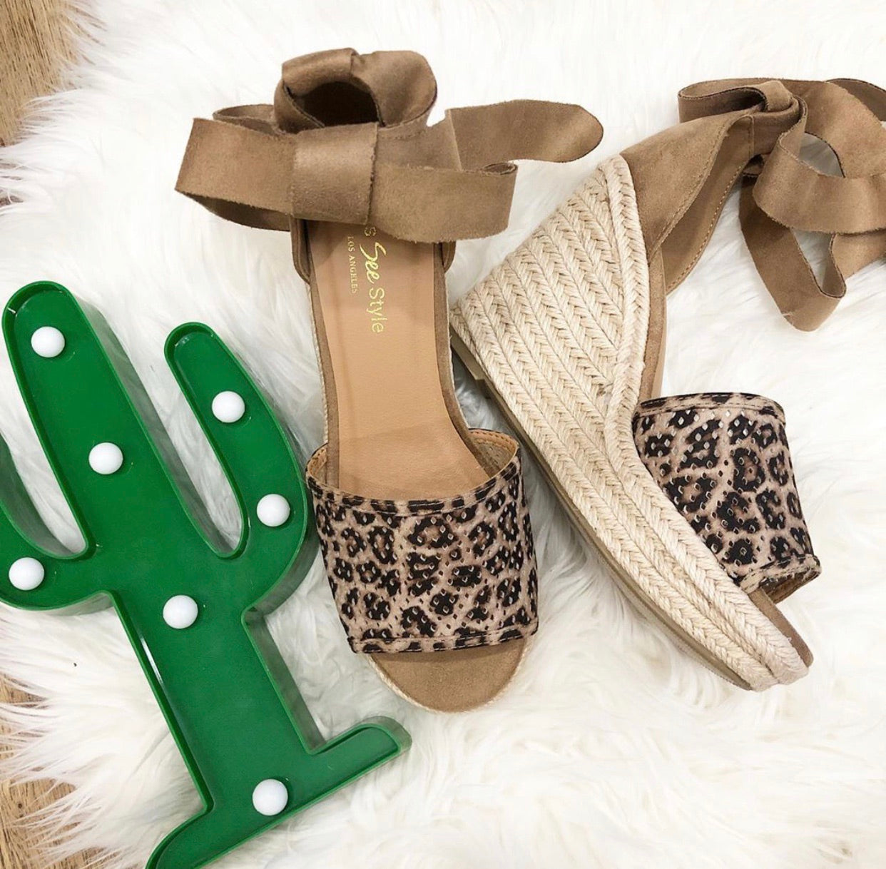 Peep Toe Espadrille Wedge Heel with Suede Lace Up | Cheeky Cactus