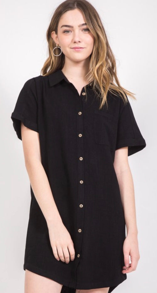 Black Button-Down Dress | Cheeky Cactus