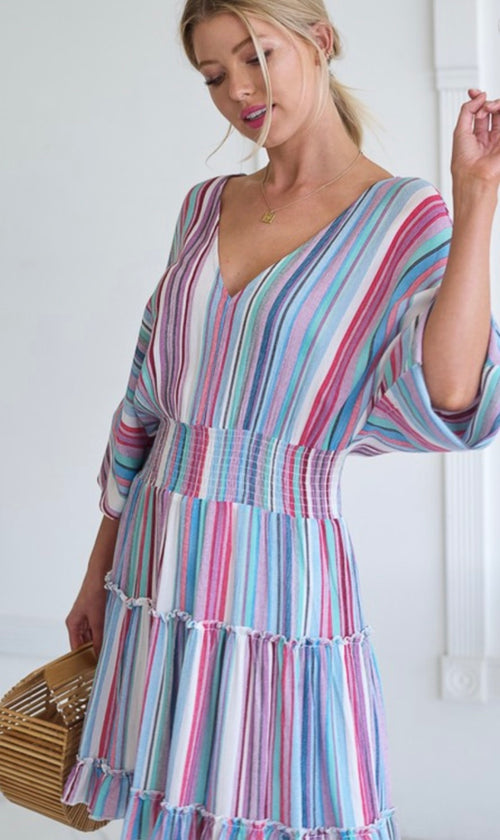 Summer sky Magenta striped dress | Cheeky Cactus