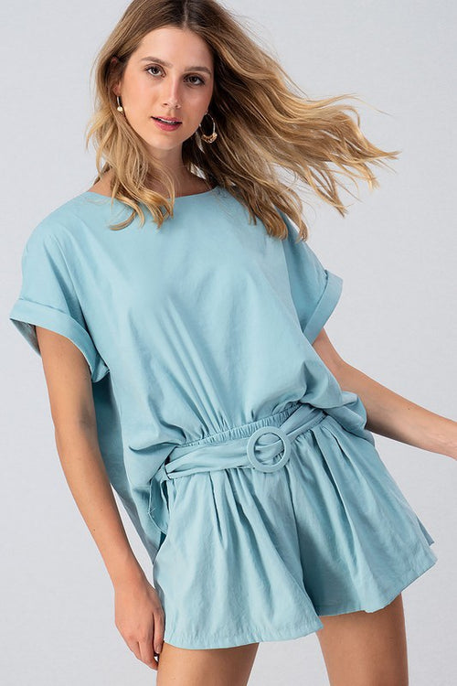Mint Woven Loose Top Short Set with Belt | Cheeky Cactus