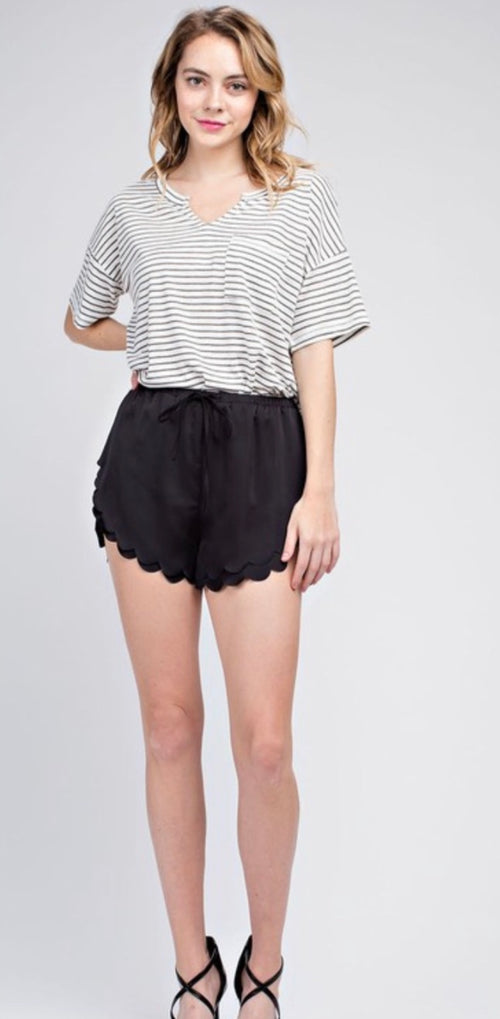 Satin Scallop hem shorts | Cheeky Cactus