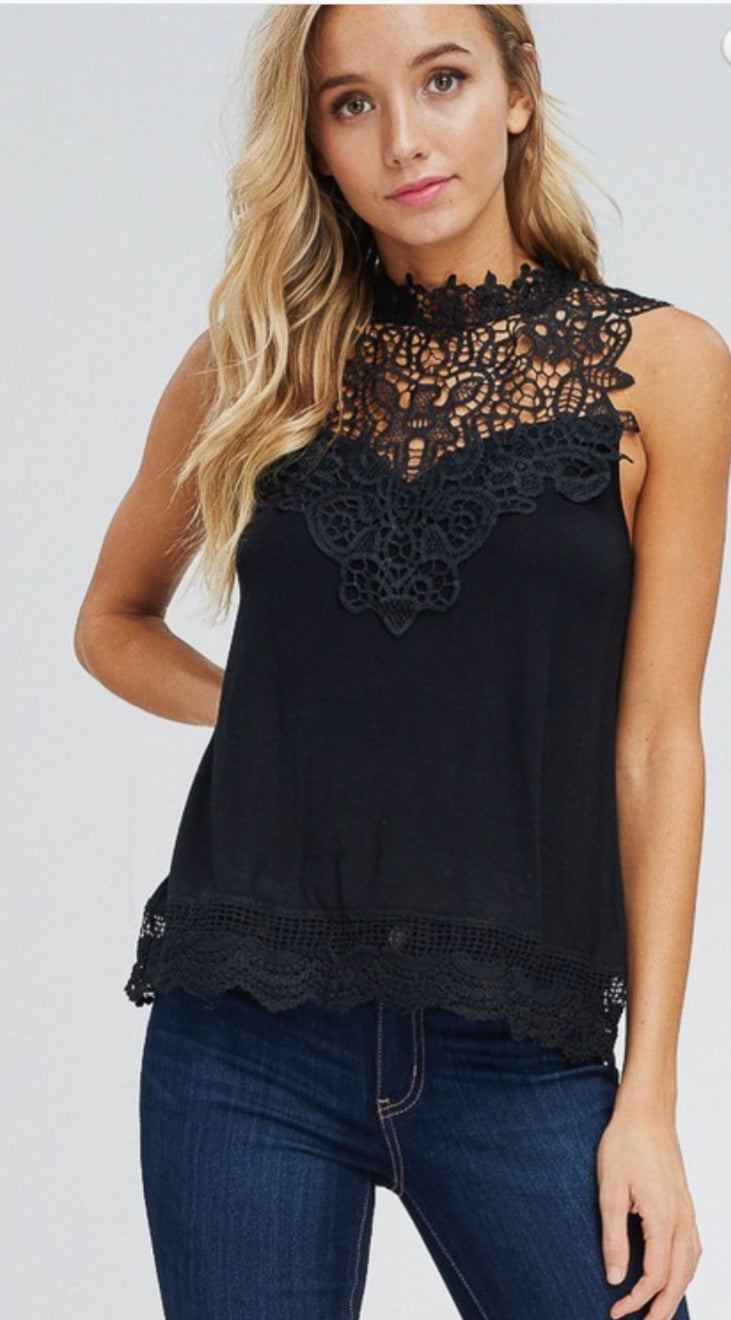 Sleeveless, Lace-Trim Top | Cheeky Cactus