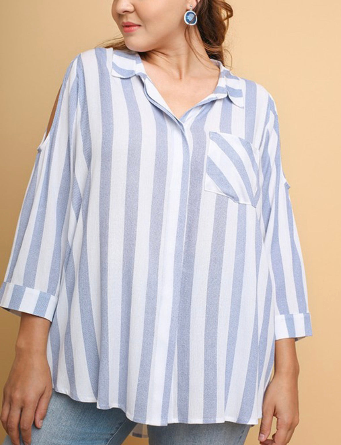 Striped Cold Shoulder Button-Up Top | Cheeky Cactus