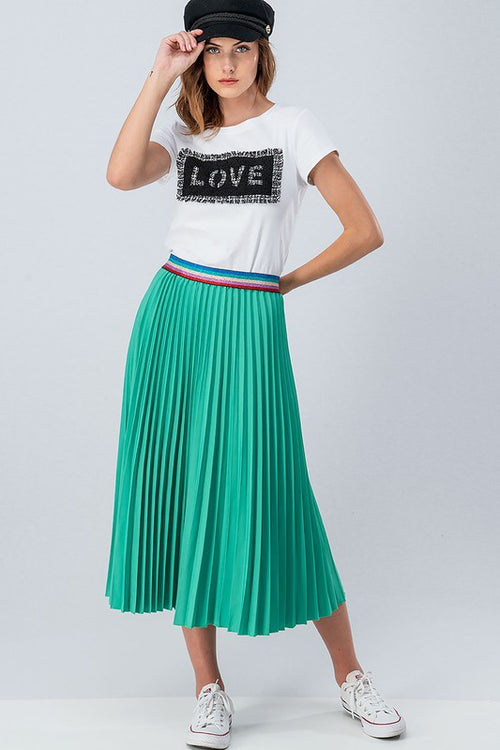 Green Pleated Skirt with Multi Color Waist Band - Cheeky Cactus