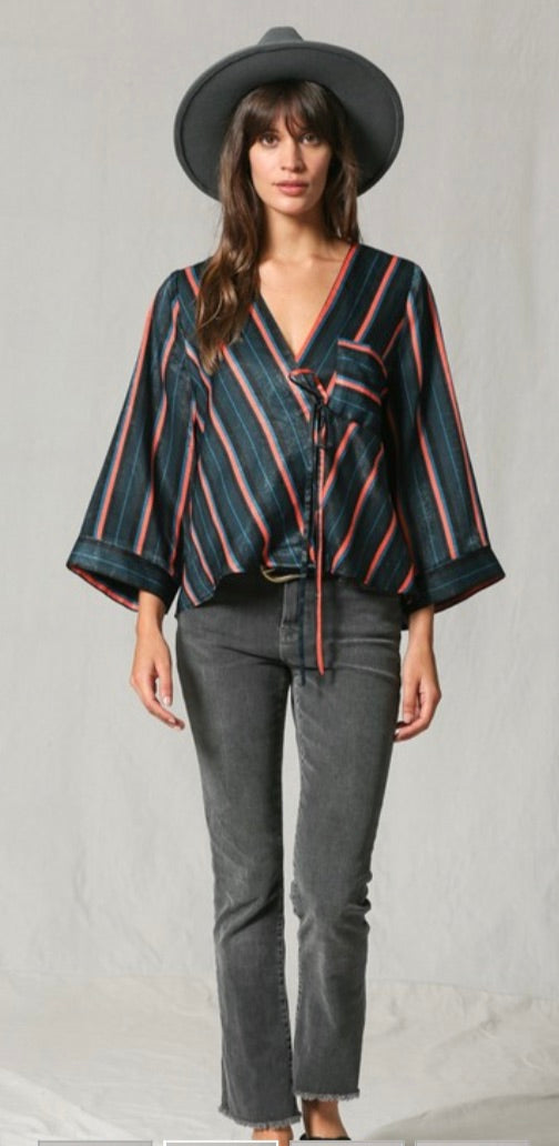 Striped cross-over tie top | Cheeky Cactus