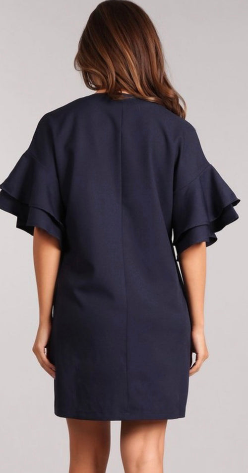 Short Navy dress with ruffled sleeve | Cheeky Cactus