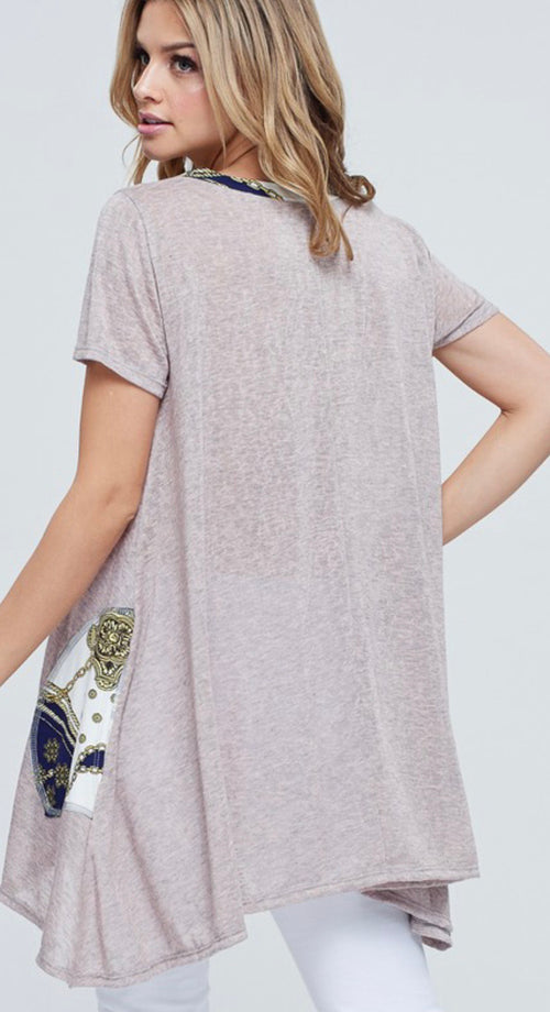 Tunic with gold/navy print pocket | Cheeky Cactus
