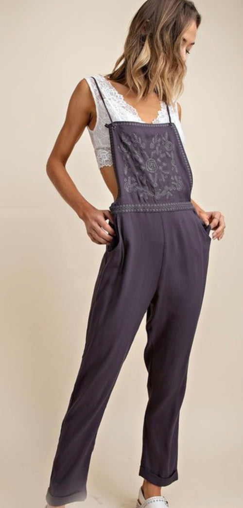 Titanium Grey Embroidered Overall | Cheeky Cactus