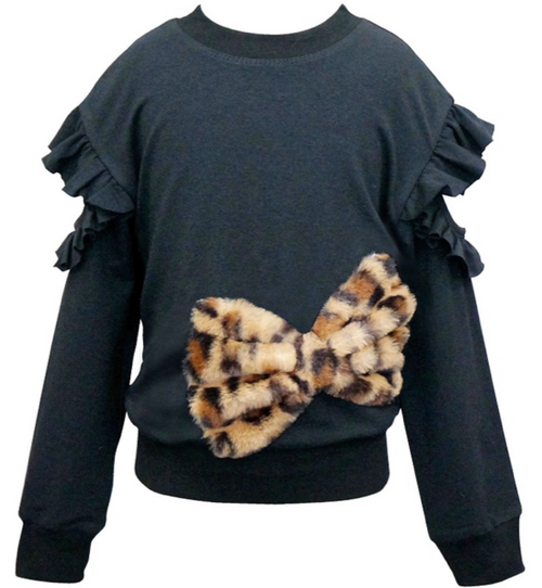 Hannah Banana faux fur Bow Sweatershirt. - Cheeky Cactus