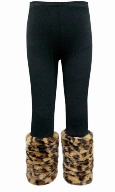 Hannah Banana faux fur Leopard cuff leggings. - Cheeky Cactus