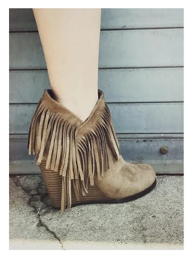 Fringe Zip-Up Wedge Bootie | Cheeky Cactus