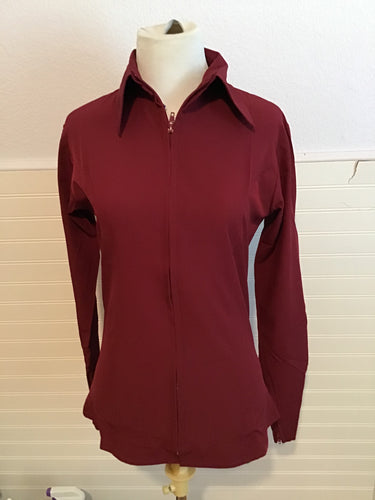 Microfiber Zip-Up Show Shirt (68248)-Maroon