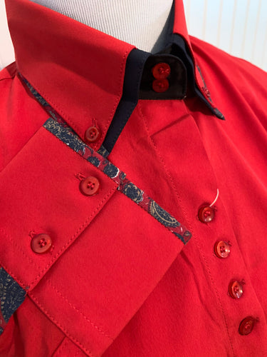 Microfiber Two-Tone Collar Western Show Shirt (68233)-Red