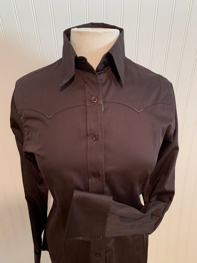 Cotton Sateen Button-Down Western Show Shirt (68310)-Brown