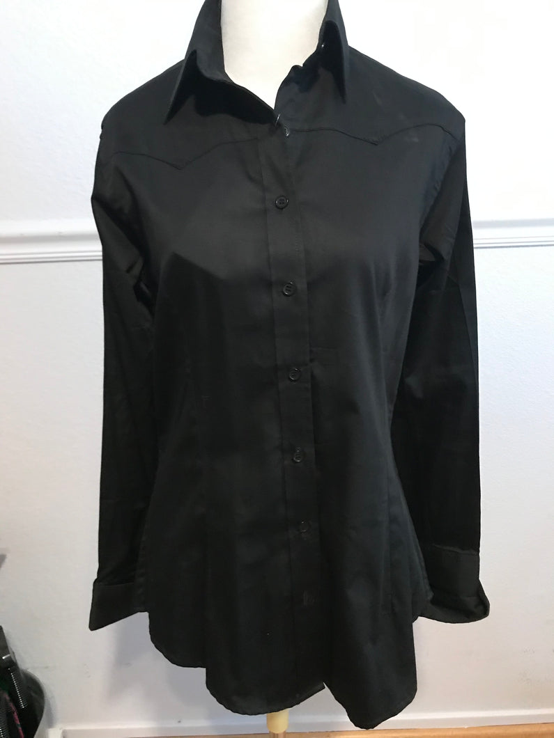 Cotton Sateen Button-Down Western Show Shirt (68310)-Black