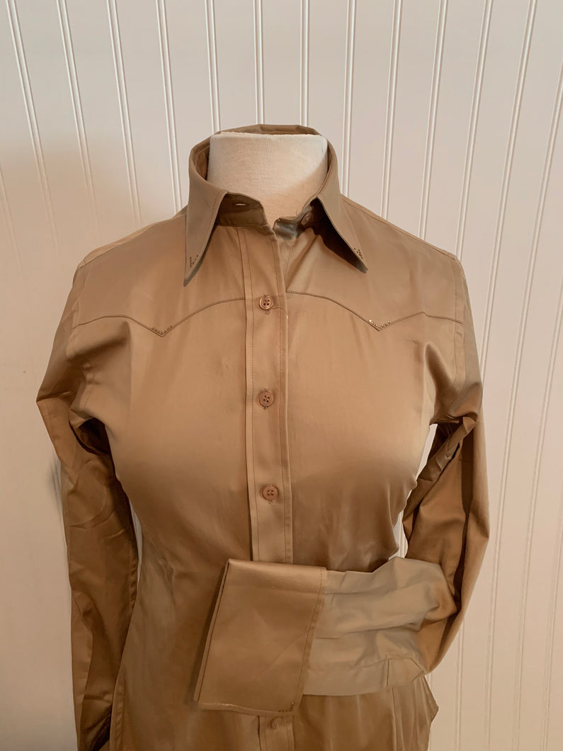 Cotton Sateen Button-Down Western Show Shirt (68310)-Tan