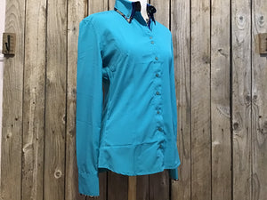 Microfiber Two-Tone Collar Western Show Shirt (68233)-Teal