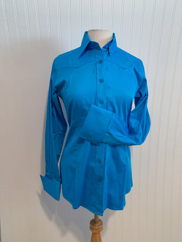 Cotton Sateen Button-Down Western Show Shirt (68310)- Turquoise
