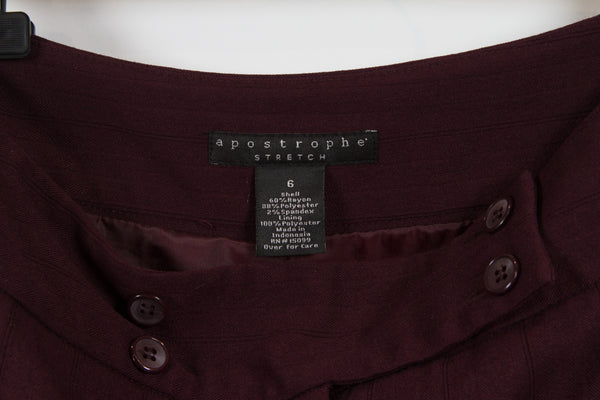 Apostrophe Burgundy Pencil Skirt Size 6-2